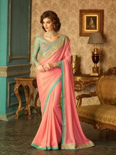 Exclusive designer pink and sea green georgette saree