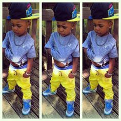 Lil man got swag. BUT THEM PANTS GOT TO BE ON HIS WAIST