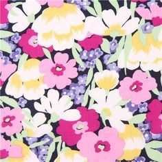 navy blue 'Wild Blossoms' fabric par Michael Miller with colorful flowers  2