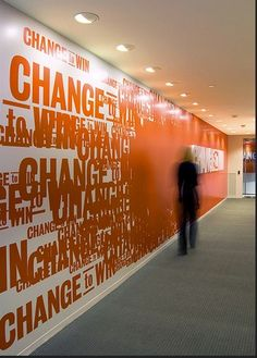 orange wall office design