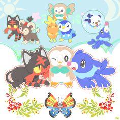 Pokémon Sun and Moon starters (Litten, Rowlet, and Popplio) with: Litleo, Torchic, Piplup, Oshawott, and Vivilion