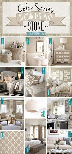 Color Series; Decorating with Stone, Beige, Tan, Sand home décor. A Shade Of Teal