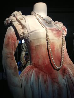 One of the four versions of the bloody white dress that Isabelle Adjani wore in Le Reine Margot was displayed at Chateau d'Hardelot.
