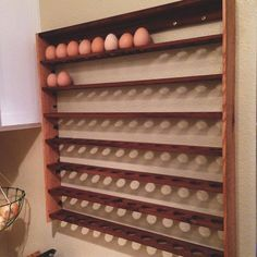 7 day egg rack, each shelf represents a day, so it is easy to keep track of the eggs that were first and last. Super simple to make, and hung with a french cleat.