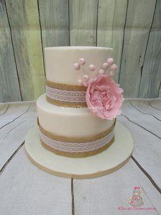 Peony wedding cake - Cake by Wilma's Droomtaarten