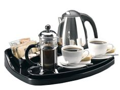 Hotel Regal hospitality tray with kettle is a free standing model. Integral auto switch-off 1 litre energy saver black and polished stainless cordless kettle with indicator light, cool touch handle, twin sight windows and concealed element. Hospitality Supplies, Coffee Tray, Bar Cart Styling, Hotel Supplies, Hotel Guest, Black Polish, Drip Tray, Kettle, Chrome