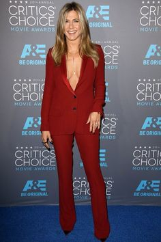 Jennifer Aniston wore a Gucci tuxedo with Christian Louboutin heels, Fred Leighton jewels and an Amrit necklace.