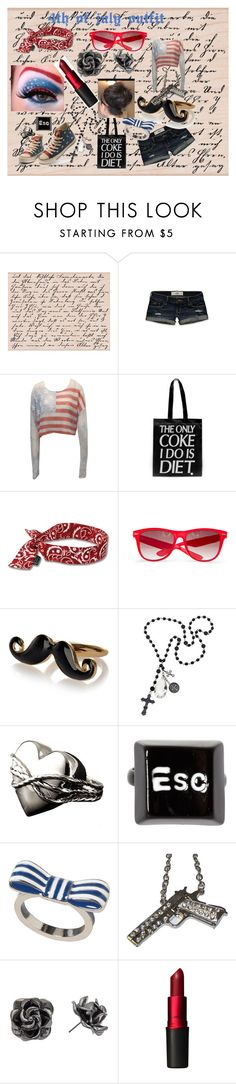 """""""4th of july outfit"""" by antara-hogan ❤ liked on Polyvore featuring Hollister Co., Wildfox, Sober Is Sexy, MANGO, River Island, ASOS, Monki, Rock Rebel, tuleste market and MAC Cosmetics"""