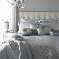 Luxury bedding by Kylie Minogue - satin, sequins and noble patterns - Home Decoration Silver And Grey Bedroom, Silver Bedding, Grey Bedding, Bedroom Black, Home Bedroom, Bedroom Furniture, Bedroom Decor, Bedroom Ideas, Dream Bedroom