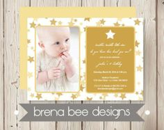 Personalized - Photo Twinkle Twinkle Little Star - Gold Stars - Shower, Birthday, Engagement Party Invitation, Custom Printable