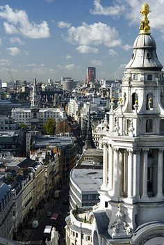 Looking west from the Stone Gallery of St Pauls Cathedral, London