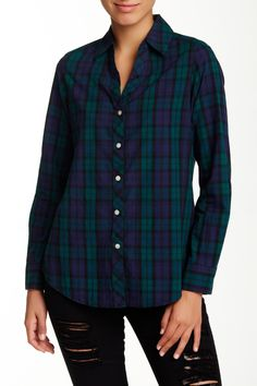 $33 Shaped Fit Y-Neck Tartan Plaid Shirt by FOXCROFT on @nordstrom_rack