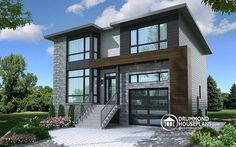 front - BASE MODEL Modern house plan with 2 master suites, 4 bedrooms, home office, large kitchen open floor plan concept - Corbusier