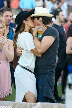 Nikki Reed + Ian Somerhalder = sparks. See the hot couple's PDA on the site!