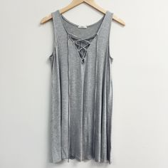 Heather Gray Lace Up Tunic Top