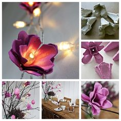 How to make flower lights out of empty egg cartons ? This project is pretty simple.  Check instructions  --> http://wonderfuldiy.com/wonderful-diy-egg-carton-flower-lights/