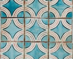 Magreb 16 Tabarka- Royal Blue, Paprika Charcoal on Off White- Hand Painted Terra Cotta from Mission Stone and Tile Tabarka Tile, Mosaic Tiles, Backsplash Tile, Tiling, Pool Tiles, Tile Patterns, Textures Patterns, Print Patterns, Deco Design