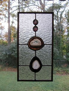 """Canyonlands - Brown Agates with Clear Textured Glass: Stained Glass Panel with Glass Gem Accents (approx 6.25 wide x 12.5"""" tall)"""