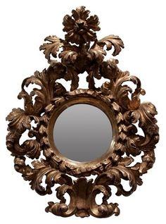 Antique 18th century carved gilt wood mirror. (Vintage modern)
