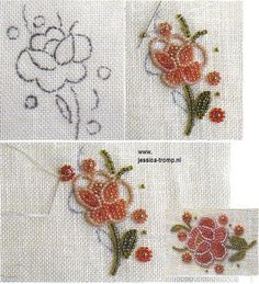 Pearl Embroidery, Tambour Embroidery, Couture Embroidery, Silk Ribbon Embroidery, Bead Embroidery Tutorial, Bead Embroidery Patterns, Hand Embroidery Designs, Bordados Tambour, Beaded Flowers Patterns