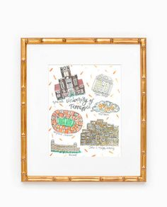 University of Tennessee Map Print by Rachel Tenny