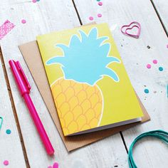 New to Onetenzeroseven on Etsy: Pineapple Greetings Card | Recycled Card | Birthday Card | Thank You Card | Just Because Card | Blank Inside (2.50 GBP)