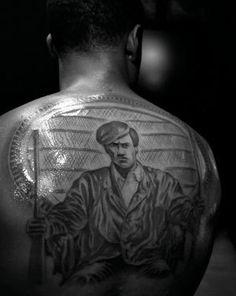 Huey p newton. An entire tattoo dedicated to the memory of Mr Newton . Emory Douglas, Zebra Skin Rug, New School Hip Hop, State Tattoos, Black Panther Chadwick Boseman, Freddie Gibbs, Art In The Age, George Clinton, Black Planet