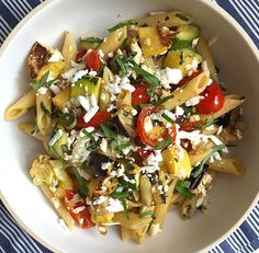 Ricotta salata—ricotta's saltier cousin—adds a sharp tang to this summer pasta dish. Get the recipe: Penne with Roasted Summer Vegetables and Ricotta Salata   - Delish.com