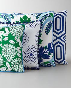 Green, Blue, & White Embroidered Pillows at Horchow.