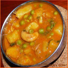 Creamy Peas-Potato Curry   Holy Cow! Vegan Recipes Eggless Recipes Dairy-free Recipes Indian Recipes