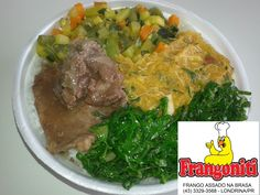 Prato do dia: Bife ao molho madeira, pirão de frango, couve refogada, refogado de legumes, arroz com feijão mais salada