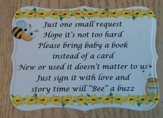 30 Custom Die Cut Bumble/Honey Bee Baby Shower Invite Book Request Insert Cards #BabyShower