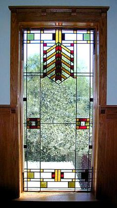 large Frank Lloyd Wright-style stained glass window