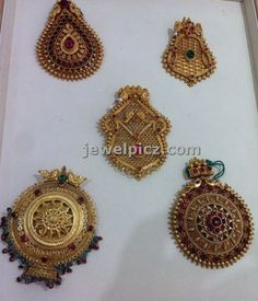 22 karat Gold Pendents in Antique Finish at Nalli jewellers ~ Latest Indian Jewellery designs