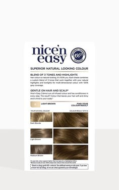 Clairol Nice' n Easy Crème Permanent Hair Dye 6 Light Brown Beige Blonde, Shades Of Blonde, Light Brown Hair, Light Beige, Hair Dye Allergy, Hair Color Highlights, Hair Colour, Organic Meat, At Home Hair Color