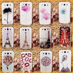 Tower Red Lip Flower Backness Girl Painted  Hard PC Phone Case For Samsung Galaxy S3 i9300 Cellphones Cover Capa Fundas EC287