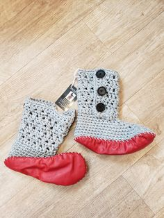 pattern is from MJs Off the Hook Designs Slipper Boots, Knit Crochet, Slippers, Pattern, Leather, Design, Fashion, Moda, Fashion Styles