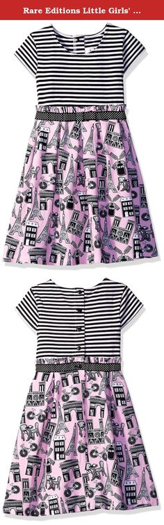 Rare Editions Little Girls' Paris Conversational Print Knit Dress, Pink, 6. Black striped bodice to pink Paris conversational print knit dress.
