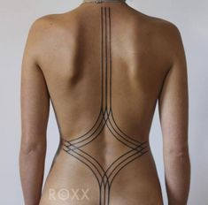 Back Geometric Line Tattoo by 2 Spirit Tattoo