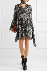 Chloé Printed cotton and silk-blend crepon mini dress