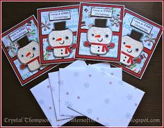 Set of snowman Christmas cards made using Cricut Create a Critter 2 cartridge and embossed with Cuttlebug. Sentiments from Lawn Fawn.