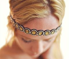 Black and Gold Headband by Deepa Gurnani