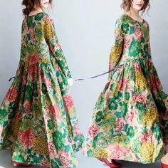 Green long dresses