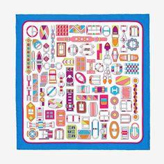 Hermes silk twill pocket square (100% silk)Designed by Virginie Jamin