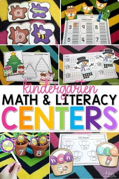 Use these hands on math and literacy centers in your kindergarten rotations. Kids can exercise their reading and sight words skills. These printables can be organized well into binders or folders! #mathcenters #literacycenters #misskindergarten