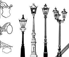 Vector Vintage Street Lights & Signs