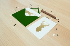 Gold Foil Deer Card with Dark Green by LearningCurveDesigns, $4.00
