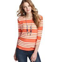 Market Stripe 3/4 Sleeve Tee - Fresh stripes bring sporty style to this easygoing favorite, with cute dolman sleeves. Boatneck. 3/4 dolman sleeves. Banded neckline.