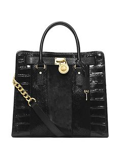 MICHAEL MICHAEL KORS Hamilton Large Hair Calf And Embossed Leather Tote Bag