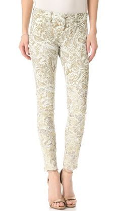 DL1961 Helena Skinny Jeans exude lavish beauty with hand embroidery and Swarovski crystals tracing the metallic floral designs.